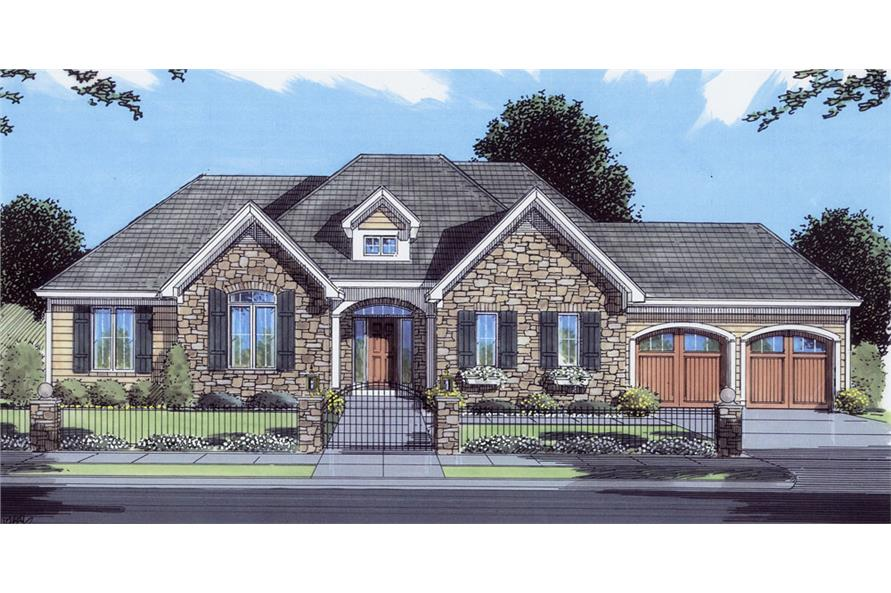 Front elevation of Country home (ThePlanCollection: House Plan #169-1042)