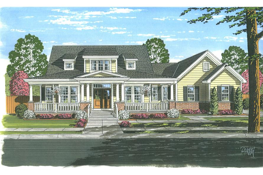 Front elevation of Cape Cod home (ThePlanCollection: House Plan #169-1052)
