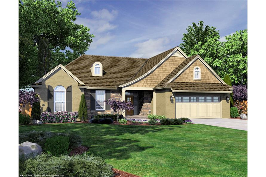 Front elevation of Ranch home (ThePlanCollection: House Plan #169-1054)