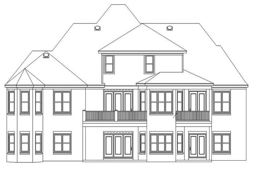 This image shows the rear elevation of the house plan.