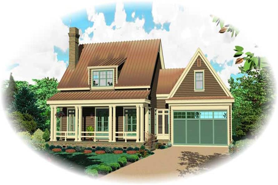 Front elevation of Cape Cod home (ThePlanCollection: House Plan #170-1821)