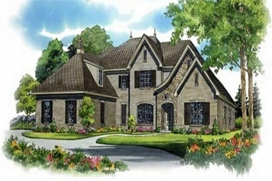 French Home Plans color rendering.
