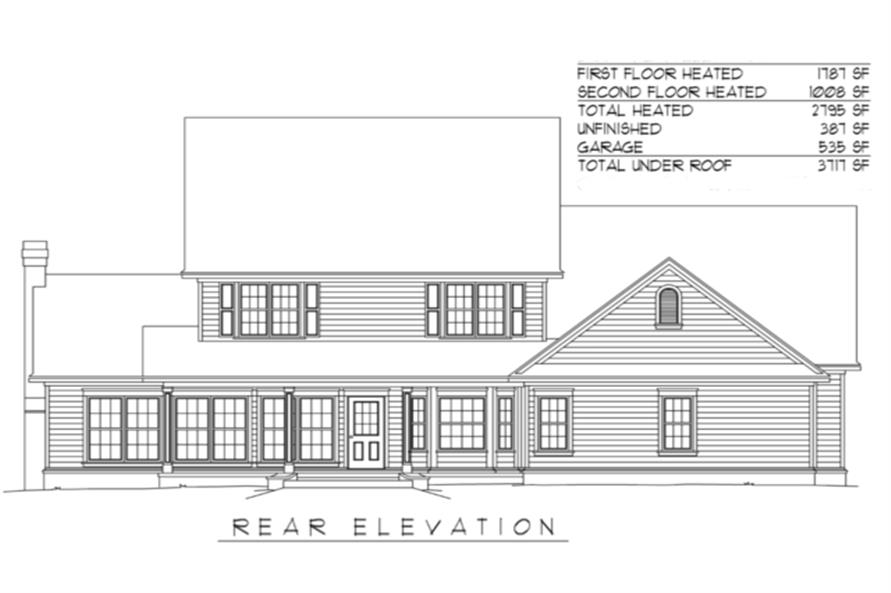 173-1037: Home Plan Rear Elevation