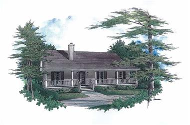 3-Bedroom, 1277 Sq Ft Country Home Plan - 174-1043 - Main Exterior