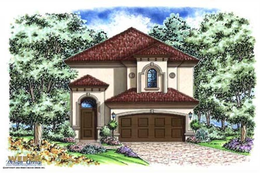 Mediterranean house plans color rendering.