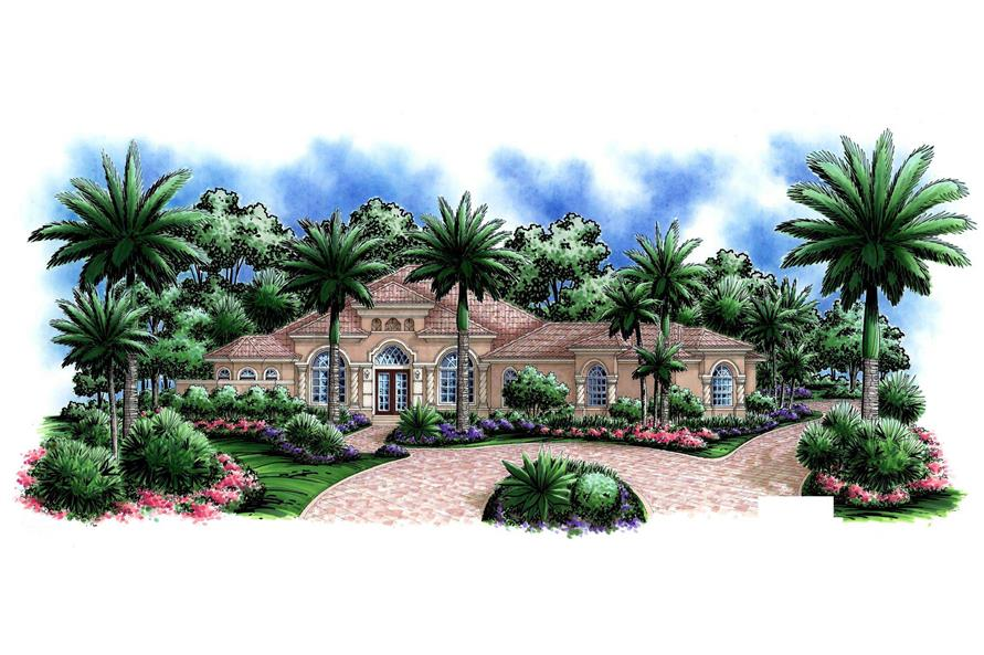 This image shows the front elevation of these Mediterranean Houseplans.