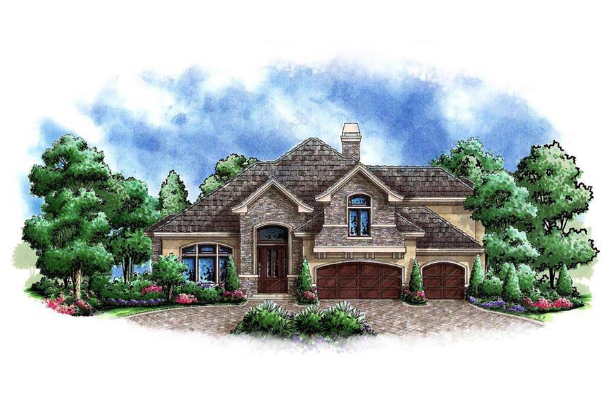 This image shows the front elevation of these Mountain House Plans.