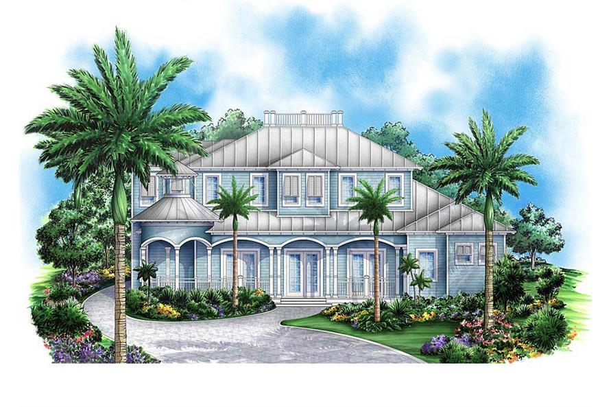 This is a colorful front elevation of these Coastal Home Plans.