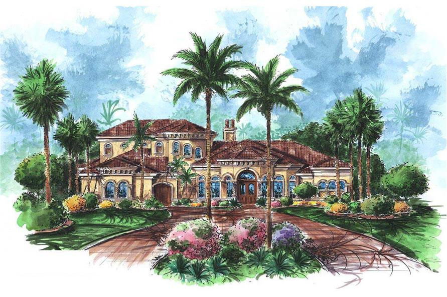 This is a colored elevation of these Mediterranean House Plans.