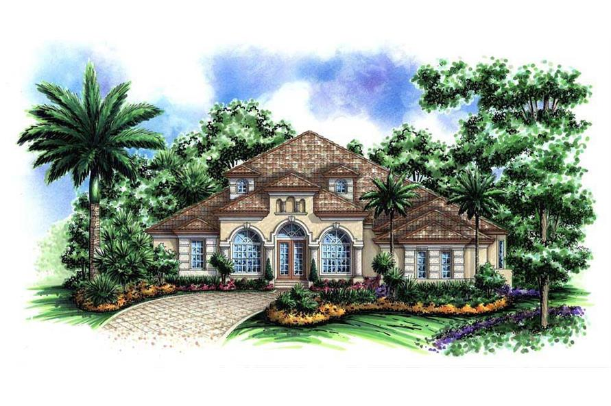 Front elevation of Florida Style home plan (ThePlanCollection: House Plan #175-1032)