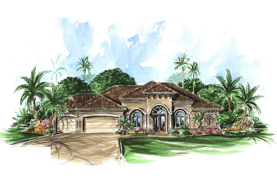 This image shows the front elevation of these Tuscan Houseplans.