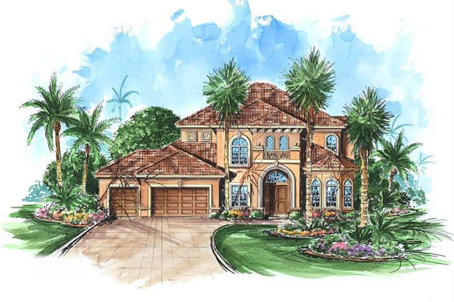 Mediterranean house plans color elevation.