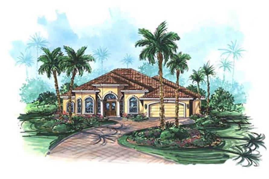 This image shows this set of Mediterranean house plans.