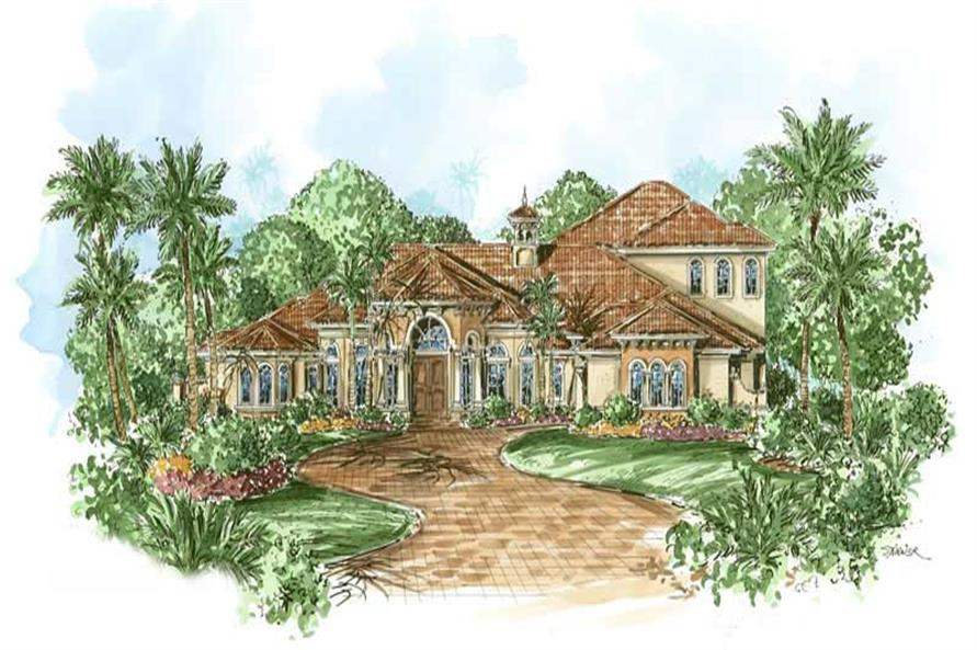 This image shows the courtyard entry for these Luxury Plans, Mediterranean Home Plans, Florida Designs.