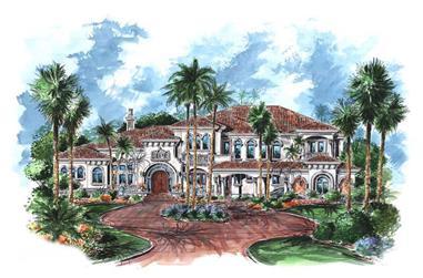 5-Bedroom, 7216 Sq Ft Luxury Home Plan - 175-1065 - Main Exterior