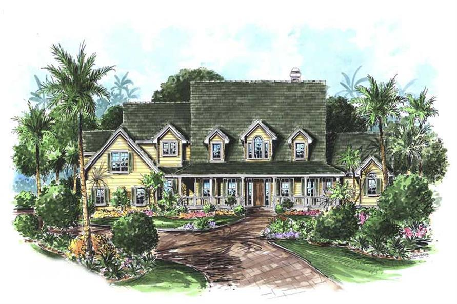 This image shows the front elevation for these Coastal House Plans, Country House Plans.