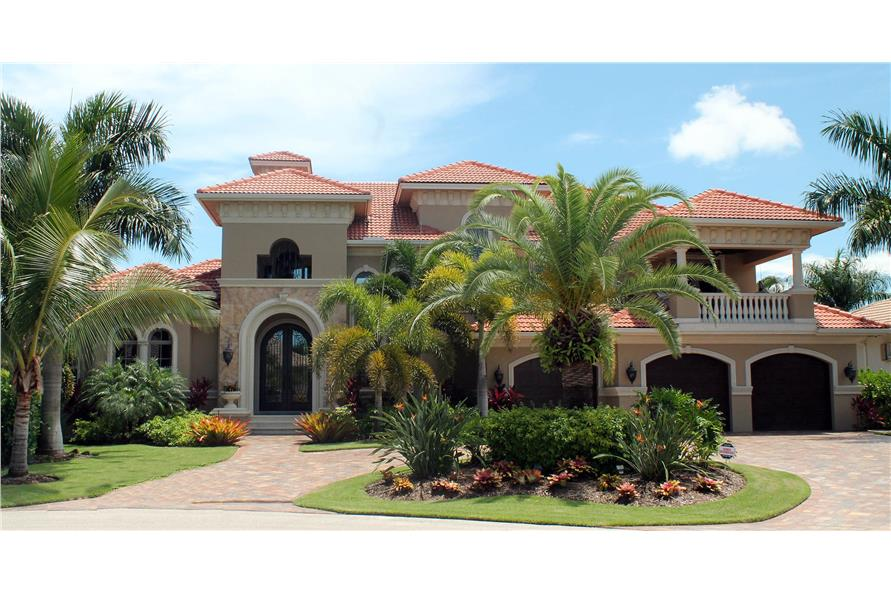 Front elevation of Mediterranean home (ThePlanCollection: House Plan #175-1090)