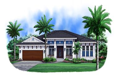 3-Bedroom, 2526 Sq Ft Florida Style House Plan - 175-1104 - Front Exterior