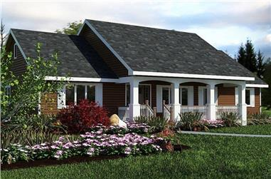 3-Bedroom, 1412 Sq Ft Country Home Plan - 176-1012 - Main Exterior