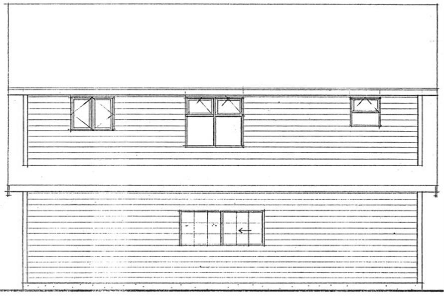 177-1040: Home Plan Rear Elevation