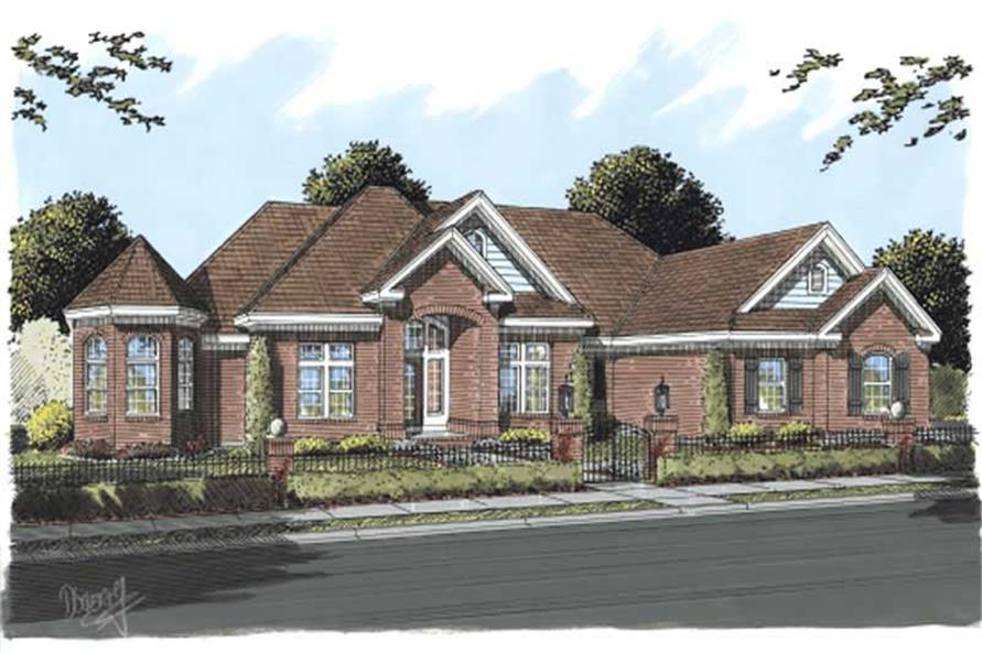 This image shows the front elevation of these Luxury House Plans, Traditional House Plans, Country House Plans, Ranch House Plans.