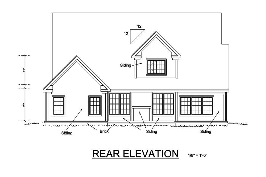 178-1334: Home Plan Rear Elevation