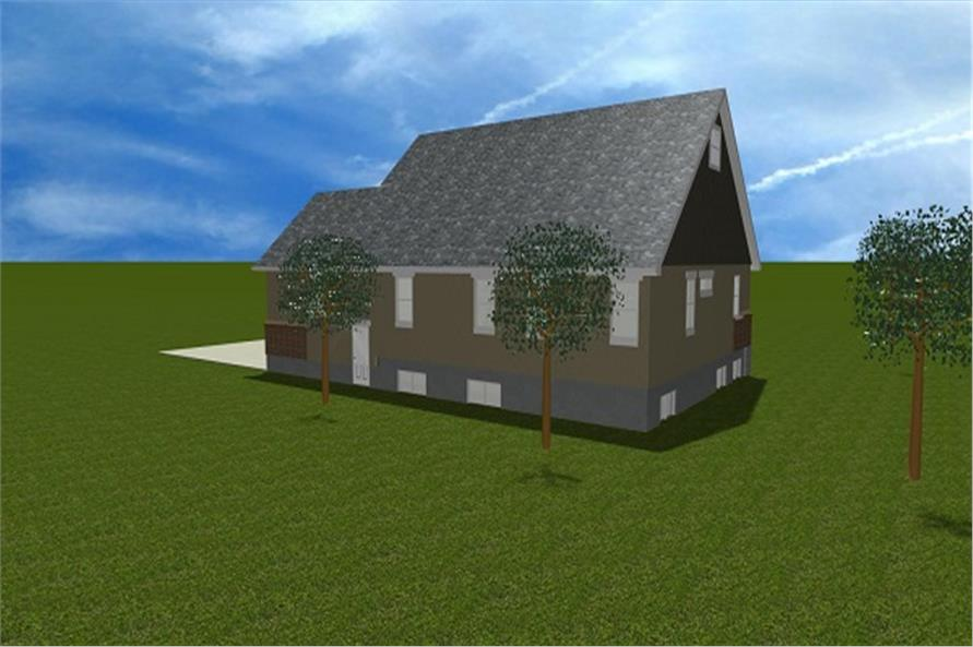 187-1006: Home Plan Rear Elevation