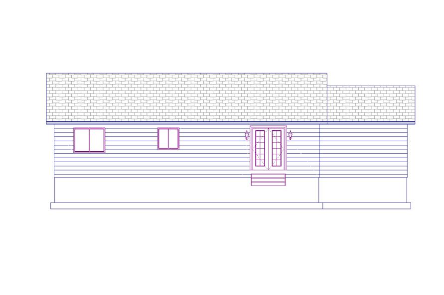 187-1009: Home Plan Rear Elevation