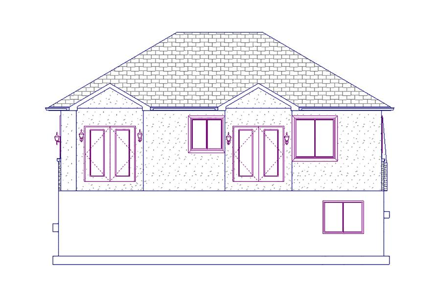 187-1015: Home Plan Rear Elevation