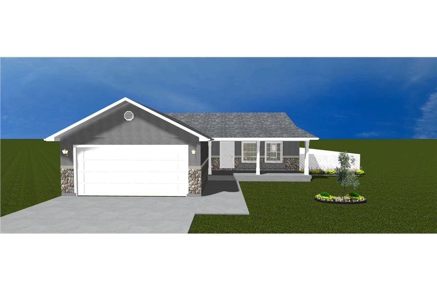 The Plan Collection: Front Elevation of Traditional House # 187-1026
