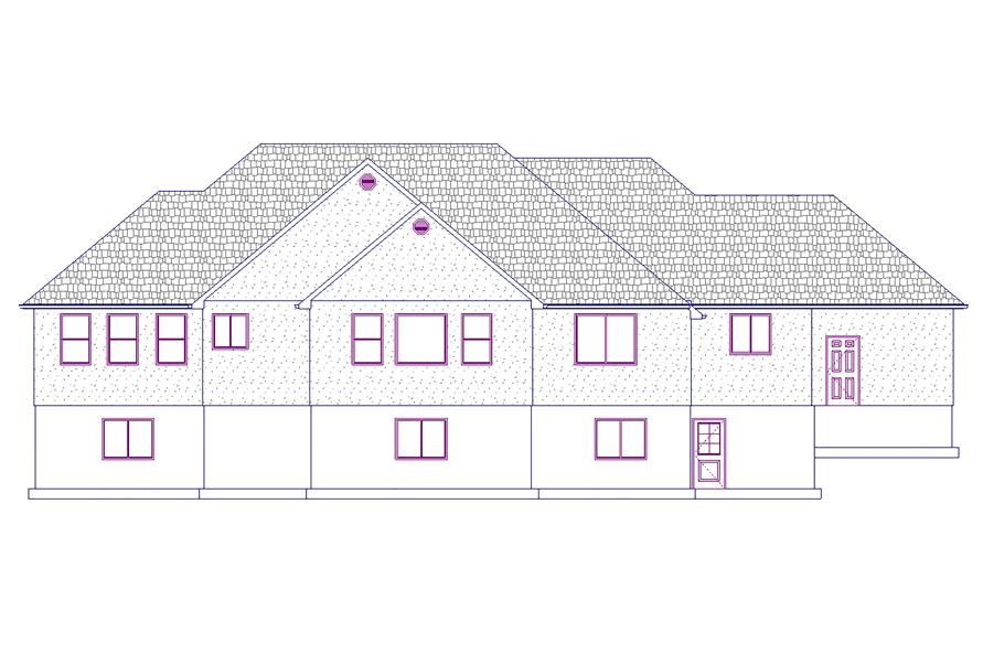 187-1031: Home Plan Rear Elevation
