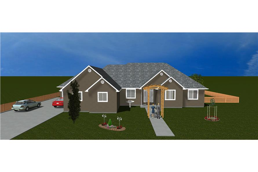 The Plan Collection: Front Elevation of Traditional House # 187-1031
