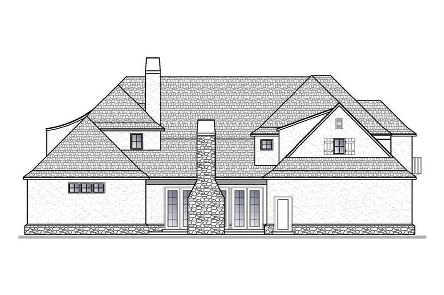 188-1004: Home Plan Rear Elevation