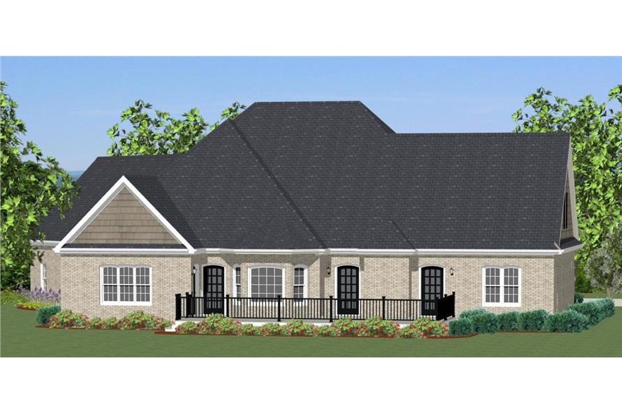 189-1000: Home Plan Rear Elevation