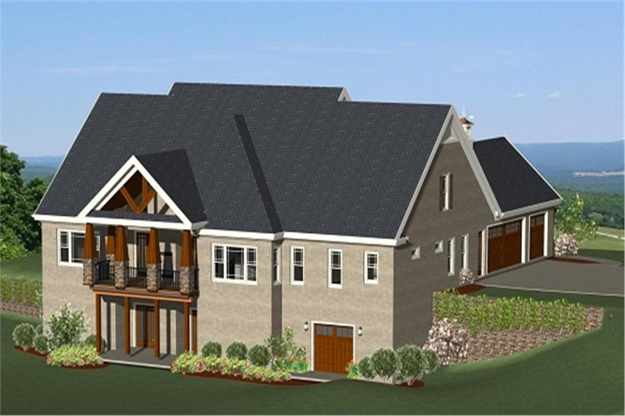 189-1001: Home Plan Rear Elevation