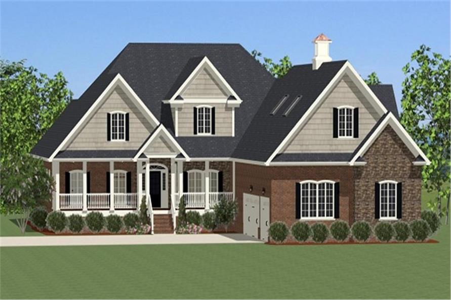 The Plan Collection: Front Elevation of Colonial House # 189-1003