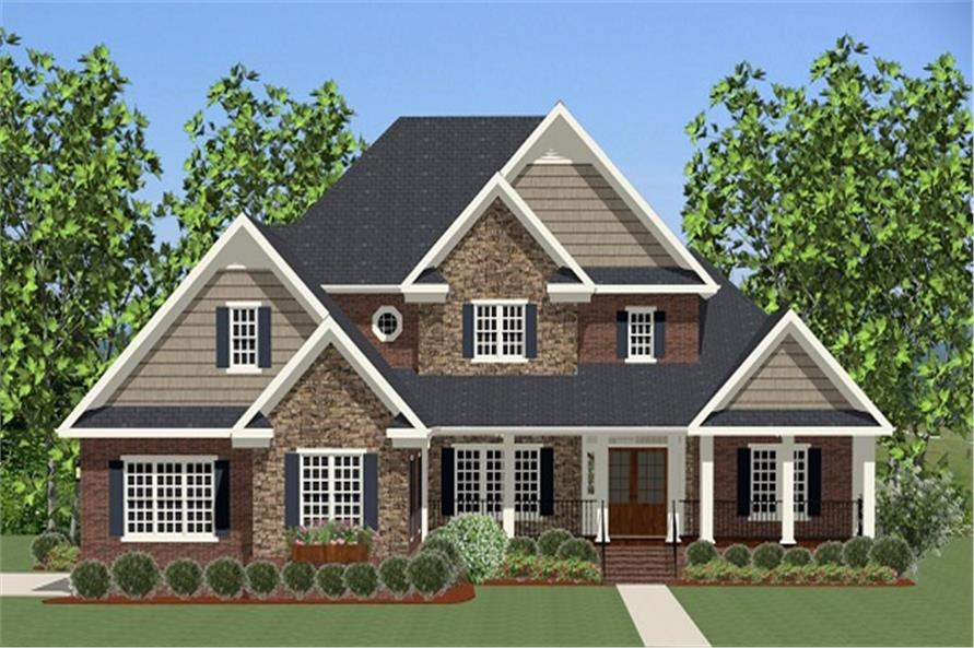 The Plan Collection: Front Elevation of Craftsman House # 189-1006