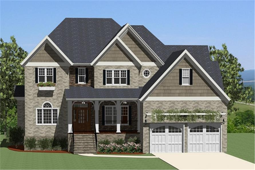 The Plan Collection: Front Elevation of Traditional House # 189-1007