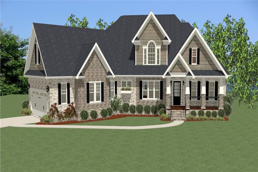 The Plan Collection: Front Elevation of Craftsman House # 189-1008