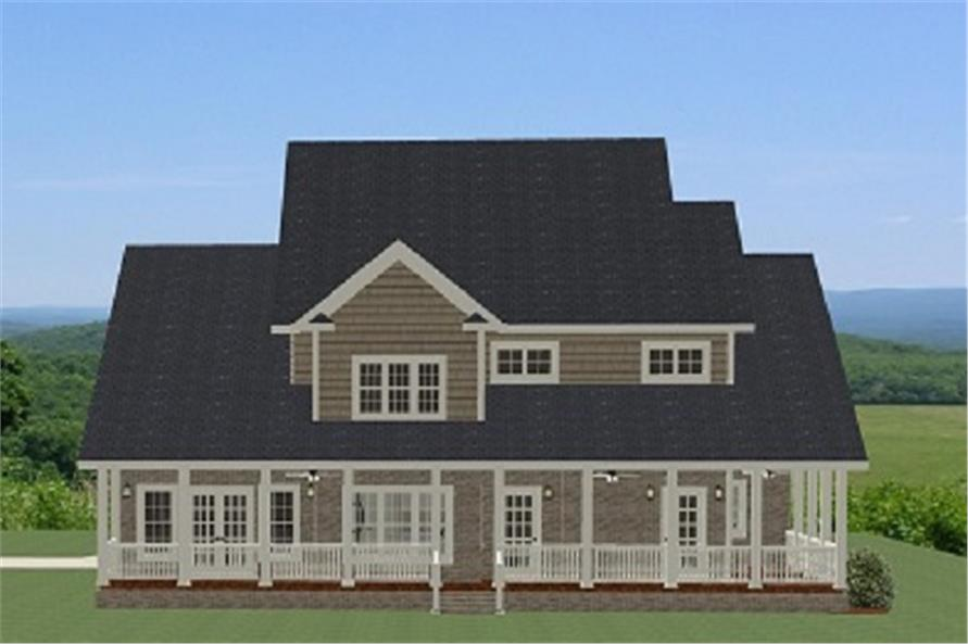 189-1016: Home Plan Rear Elevation