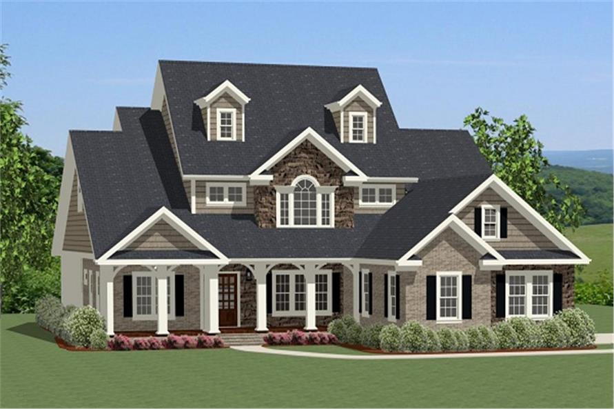 The Plan Collection: Color rendering of Farmhouse House Plan #189-1016