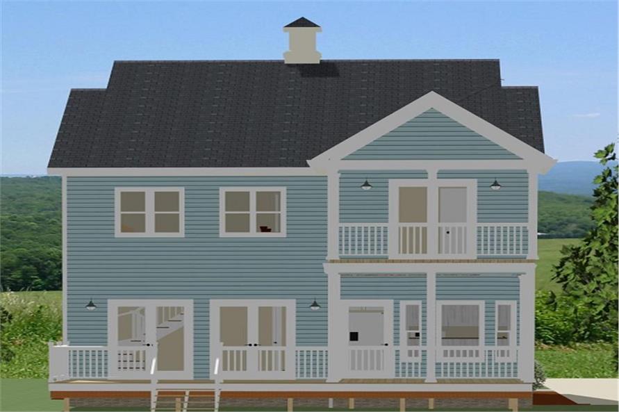 189-1064: Home Plan Rear Elevation