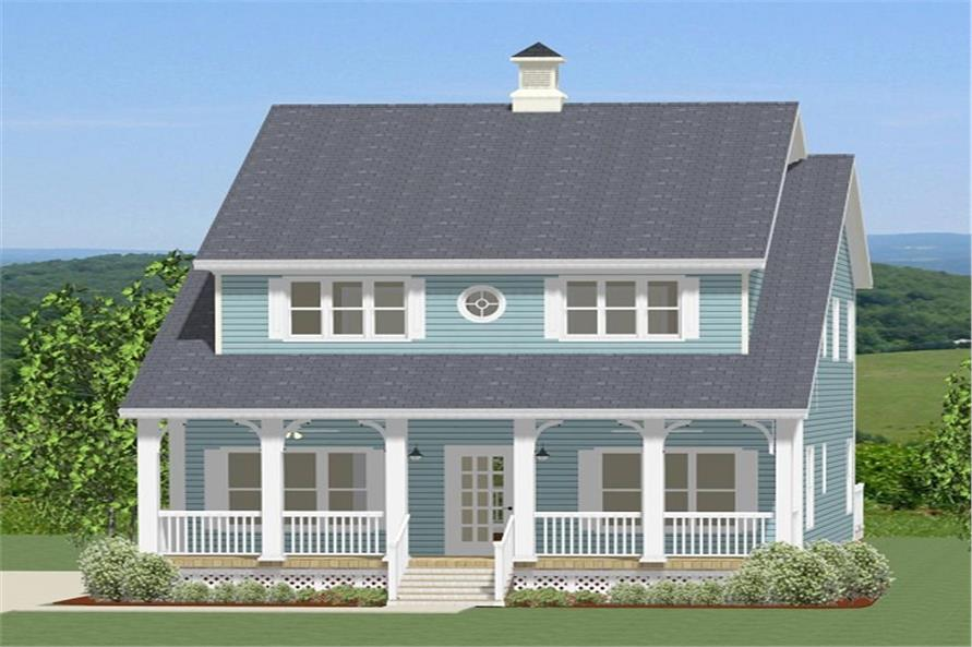 Front elevation of Southern home (ThePlanCollection: House Plan #189-1064)