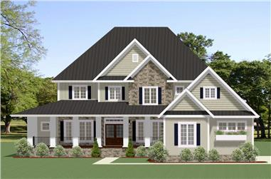 Color rendering of Farmhouse home plan (ThePlanCollection: House Plan #189-1102)