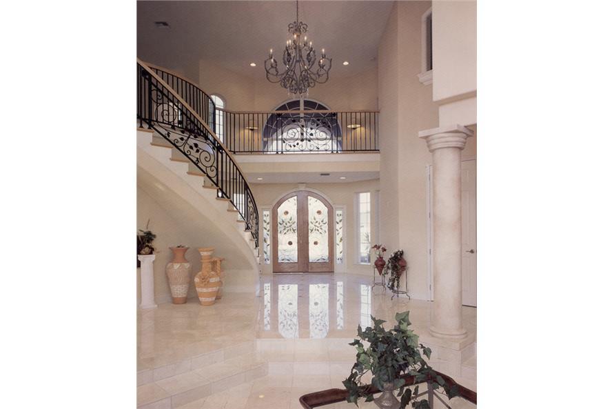 190-1012: Home Interior Photograph-Entry Hall: Staircase