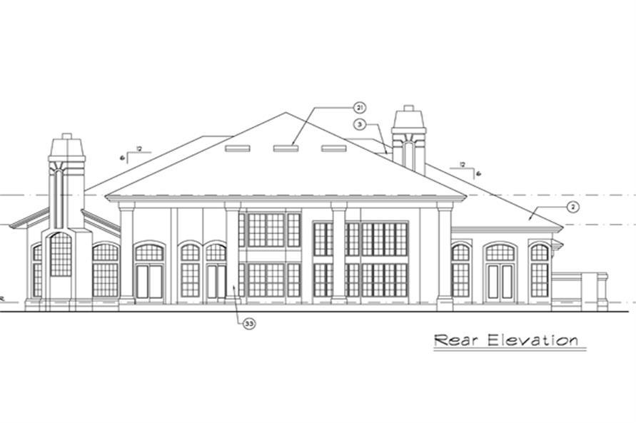 190-1012: Home Plan Rear Elevation
