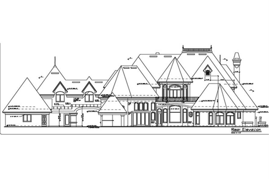 190-1014: Home Plan Rear Elevation