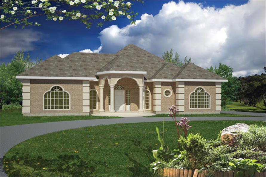 Front elevation of Ranch home (ThePlanCollection: House Plan #191-1006)