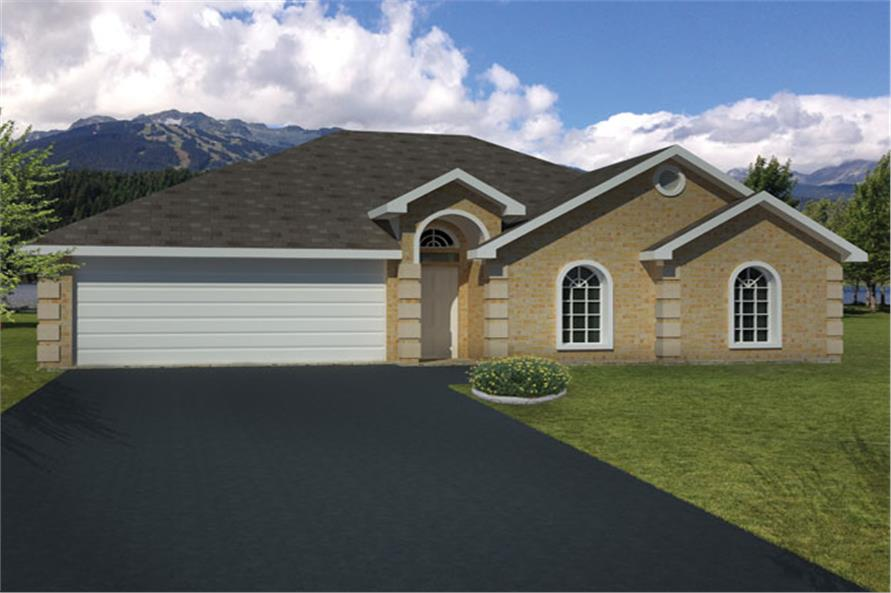 Front elevation of Ranch home (ThePlanCollection: House Plan #191-1009)
