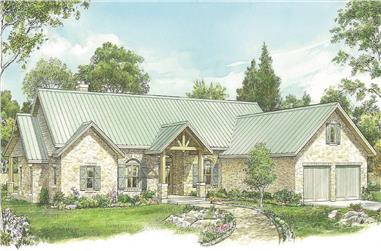 3-Bedroom, 2797 Sq Ft Texas Style House - Plan #192-1059 - Front Exterior